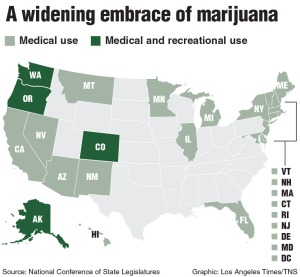 Map of marijuana laws courtesy of the Los Angeles Times (2015)