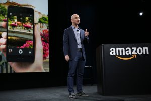 Jeff Bezos unveils Amazon's smartphone. (Ken Lambert/Seattle Times/MCT)